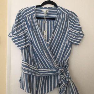 Brand new Blue & white wrap around blouse
